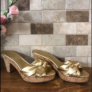 "Shoes - COACH "" Karen"" Metallic Bow Cork Sandals"